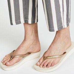 Havaianas Wedge Metallic High  Slim Flip Flops